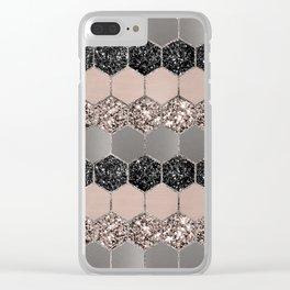 Blush Hexagon Glitter Glam #3 #geometric #decor #art #society6 Clear iPhone Case