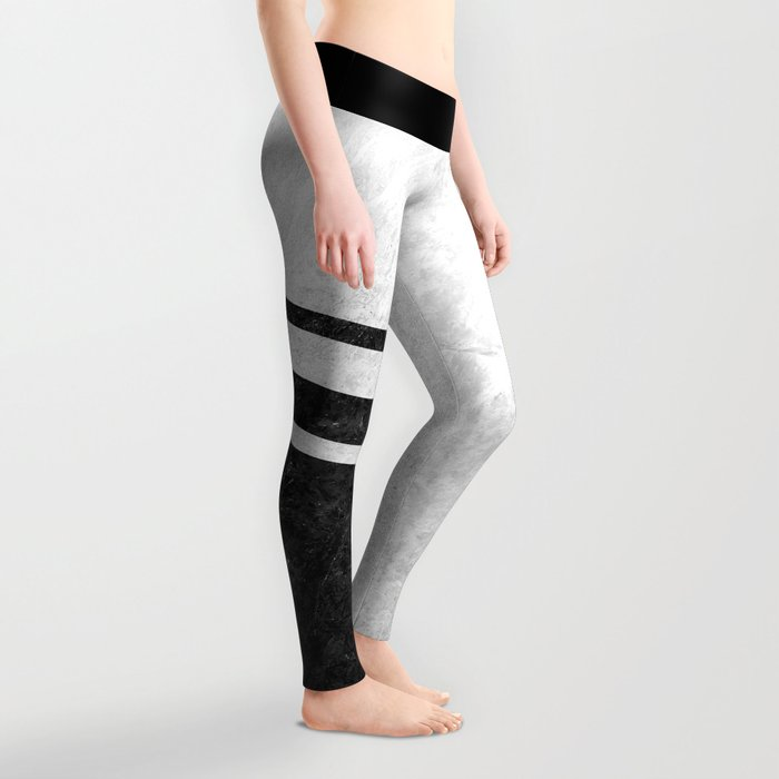 White Striped Marble Leggings
