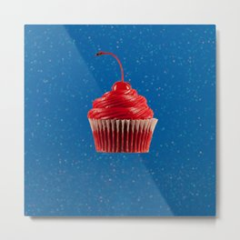 Cupcake Love | Red on Blue Sparkle Metal Print