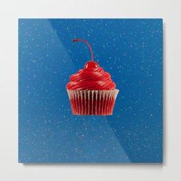 Cupcake Love   Red on Blue Sparkle Metal Print
