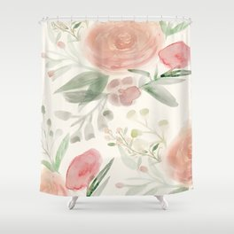 Blush Roses Watercolor Shower Curtain