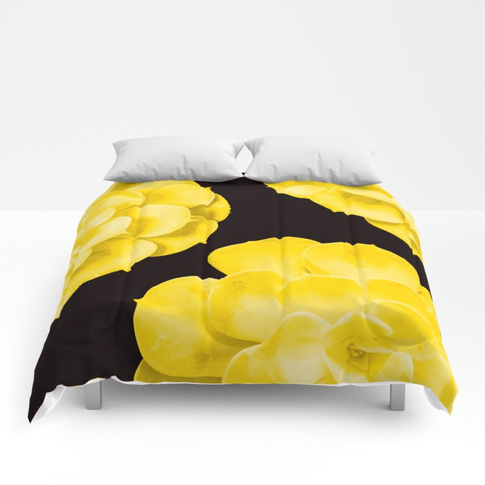 Large Yellow Succulent On Black Background #decor #society6 #buyart Comforters