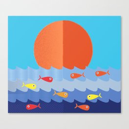 Fish fishing for friends Canvas Print