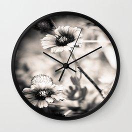 florida wildflower-b&w Wall Clock