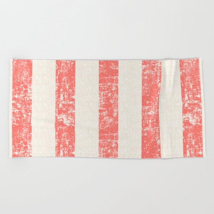 Maritime Beach Pattern- Red and White Stripes- Vertical - Beach Towel