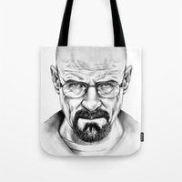walter white Tote Bags featuring Walter White by 13 Styx