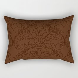 Dark Chocolate Damask Line Work Fleur de Lis Pattern Artwork Rectangular Pillow