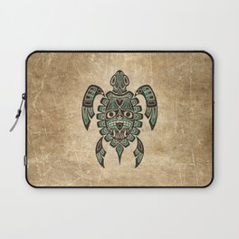 Vintage Teal Blue Haida Spirit Sea Turtle Laptop Sleeve