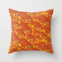 goldfish Throw Pillows featuring Goldfish by Monty