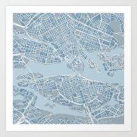 stockholm Art Prints featuring Stockholm  by Anna Eggertz