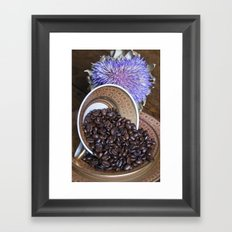 COFFEE BEANS with Blue Artichoke Framed Art Print