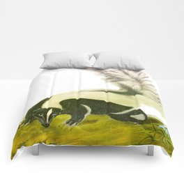 Large-tailed Skunk Hand Drawn Illustration by John James Audubon Comforters