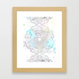 abstract gray and turquoise mandala design in minimal style Framed Art Print