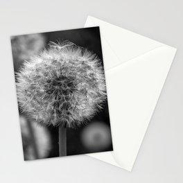 Monochromatic dandelion on black Stationery Cards
