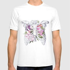 Floral Ribcage SMALL White Mens Fitted Tee