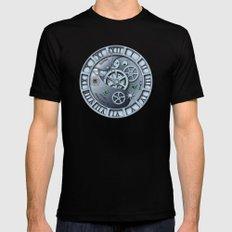 Steampunk clock silver Black MEDIUM Mens Fitted Tee