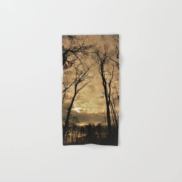 snow clouds above the wood Hand & Bath Towel