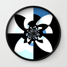 Blue White Black Kaleidoscope Mandala Wall Clock