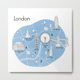 Mapping London - Blue Metal Print