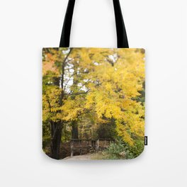 The Bridge Beneath the Yellow Tree Tote Bag