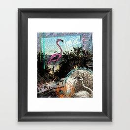 Palm trees and flamingos Framed Art Print