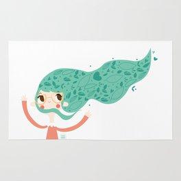 Green hair Rug