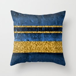 Modern Abstract Organic Texture Blue and Gold Throw Pillow