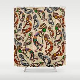 Kokopelli Rainbow Colors on Tribal Pattern  Shower Curtain