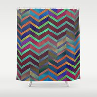 holographic Shower Curtains featuring Color Transition Chevron by Klara Acel
