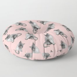 Cute Girly Pink Cats Animal Pattern Illustrations Floor Pillow