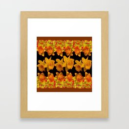 GOLDEN DAFFODILS GARDEN  COFFEE BROWN-BLACK ART Framed Art Print