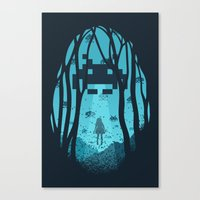 8 bit Canvas Prints featuring 8 Bit Invasion by filiskun