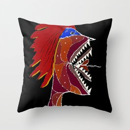 Angry Monster Side View Portrait Throw Pillow
