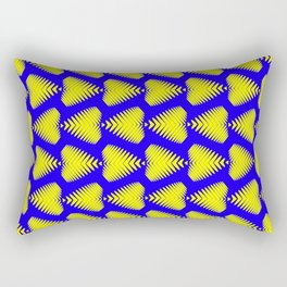 Yellow striped hearts on a blue background. Rectangular Pillow
