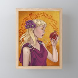 Goddess of the Dead, or Persephone holding a pomegranate Framed Mini Art Print