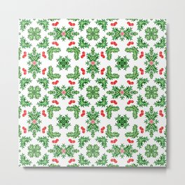 Holly Jolly Christmas Kaleidoscope (Small Pattern) Metal Print