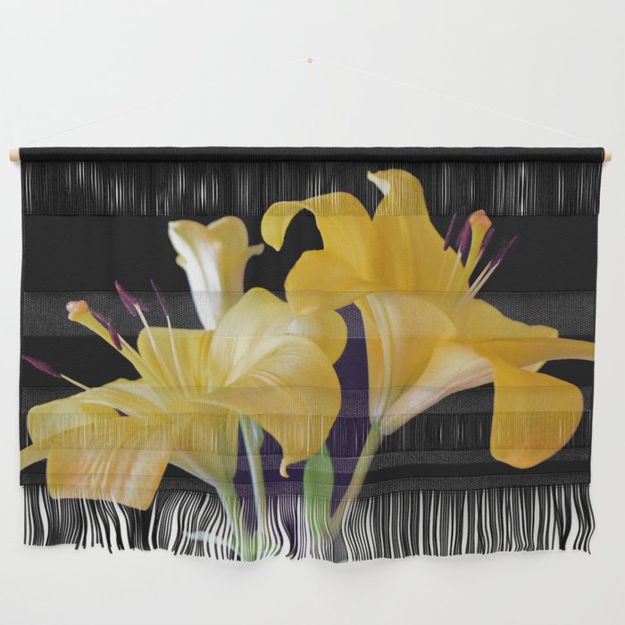 Yellow Lily Duo On Black Wall Hanging