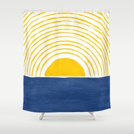 Sun Rise Blue Yellow Goache Painting Shower Curtain