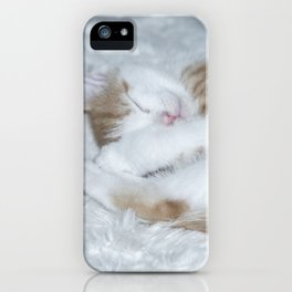 Sleeping baby orange and white tabby kitten iPhone Case