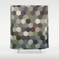 hexagon Shower Curtains featuring Hexagon  by Kitty Emsley