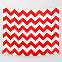 chevron Wall Tapestries featuring Chevron (Red/White) by 10813 Apparel
