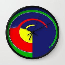 Blue Yellow Red Green Circular Abstract Wall Clock