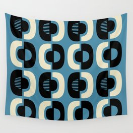 Retro Mid Century Modern Pattern 116 Black Blue and Beige Wall Tapestry
