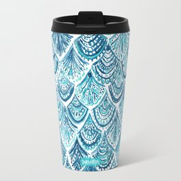 NAVY LIKE A MERMAID Fish Scales Watercolor Travel Mug