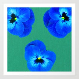 Trio de Viola tricolor on structured background Art Print