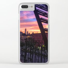 East Village Summer Sunset Clear iPhone Case