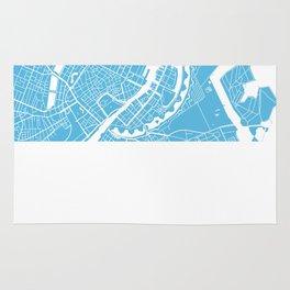 Copenhagen map blue Rug