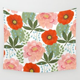 Pions and Poppies Wall Tapestry