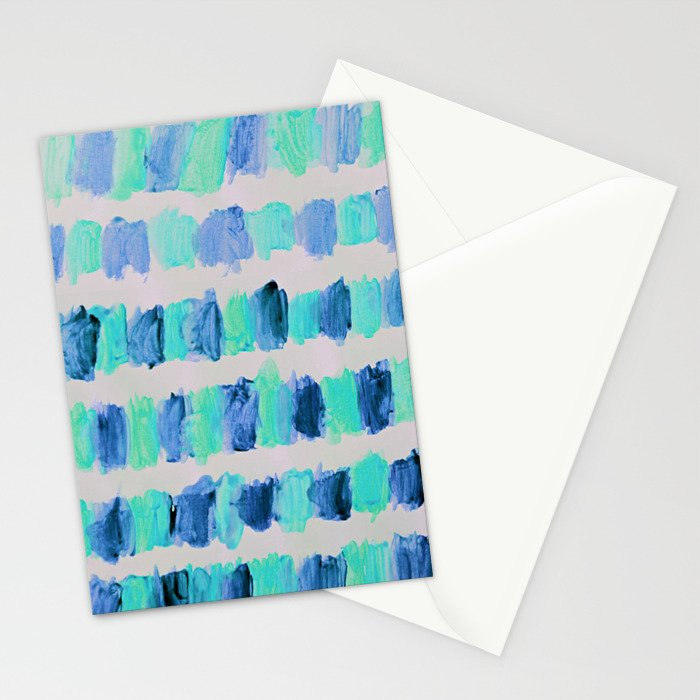 Ocean Brush Strokes -in mint & blue on grey Stationery Cards