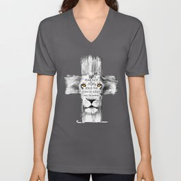 Lion Cross jesus revelation Unisex V-Neck